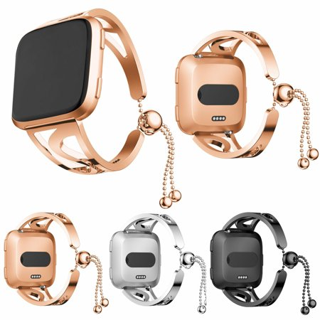EEEKit Bands Compatible Fitbit Versa, Replacement Stainless Steel Metal Jewelry Bracelet Bangle Wristband, 3 Colors Available