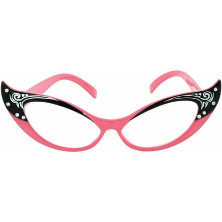 Pink Glasses Vintage Cat Eyes (Clear Lens) Adult Halloween Accessory