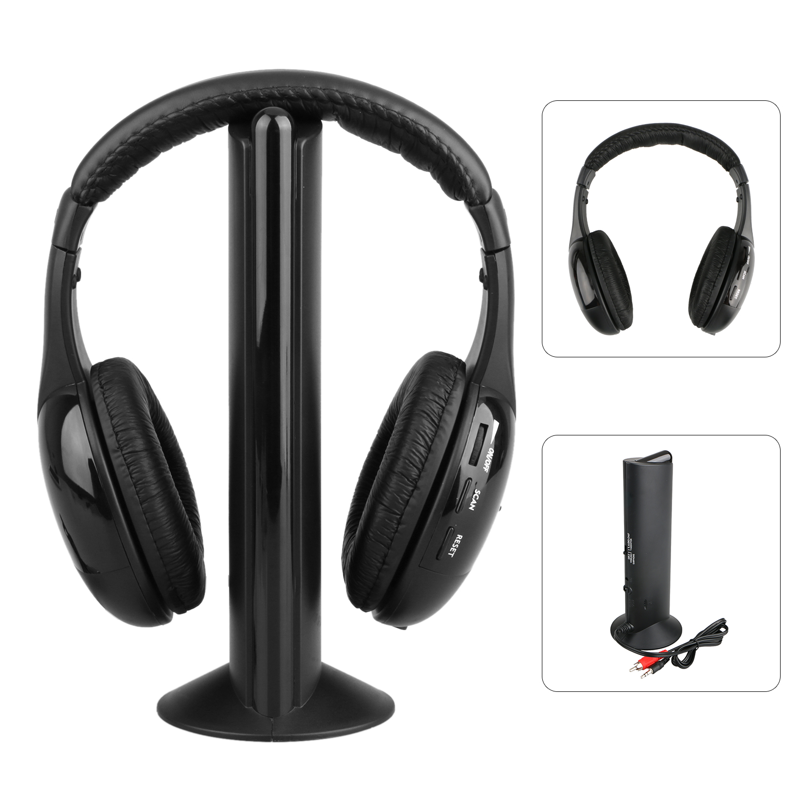 5 in 1 HIFI Wireless Headset Headphones Cordless RF Mic for PC TV DVD CD MP3 MP4