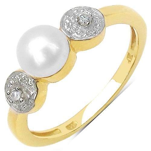 Pearl and Cubic Zirconia Cocktail Ring in Sterling Silver with Yellow Gold Plating - Size 7 (MDS140204) - image 1 of 1