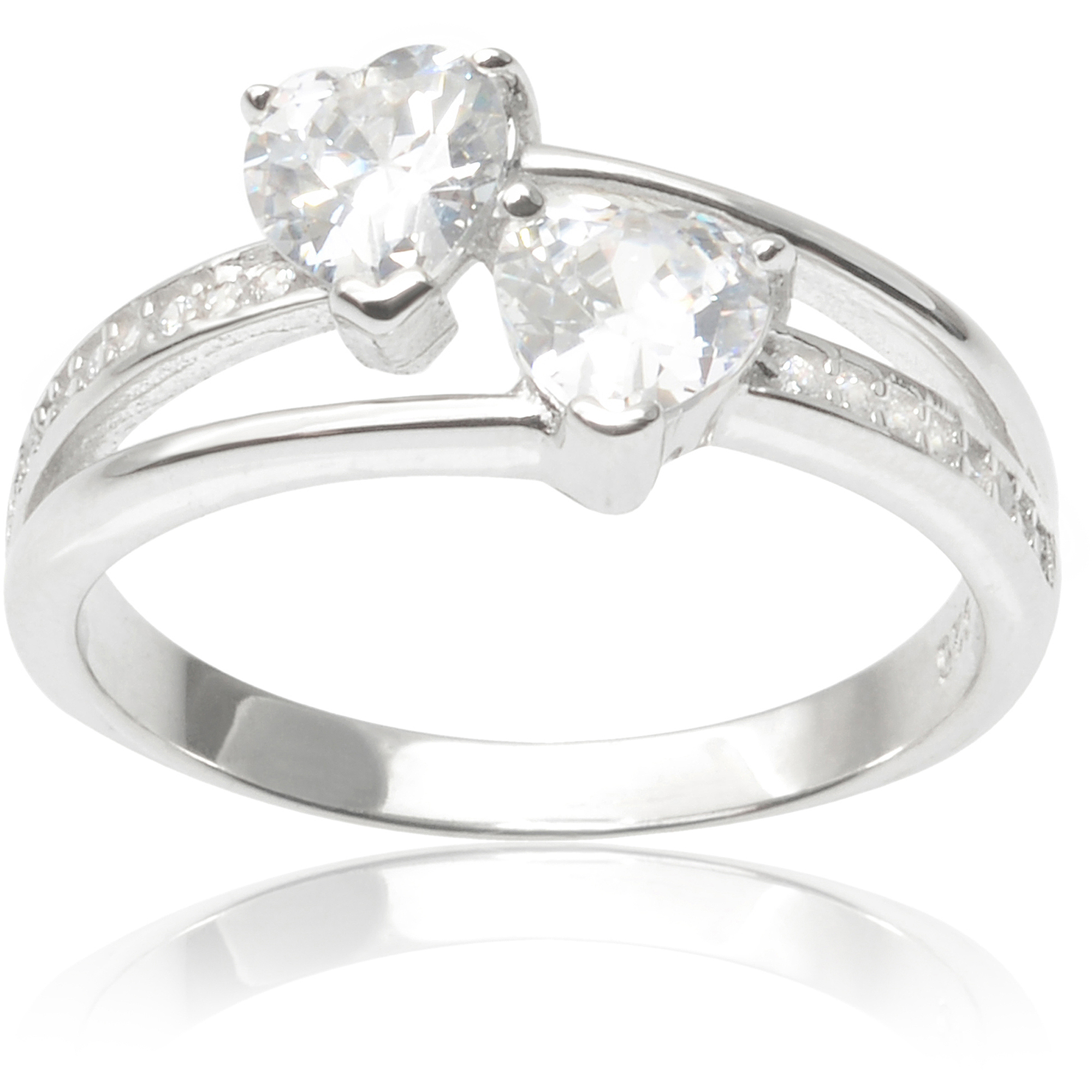 Alexandria Collection Sterling Silver 1-1/2 Carat T.G.W. Round Cubic Zirconia Double Heart Ring