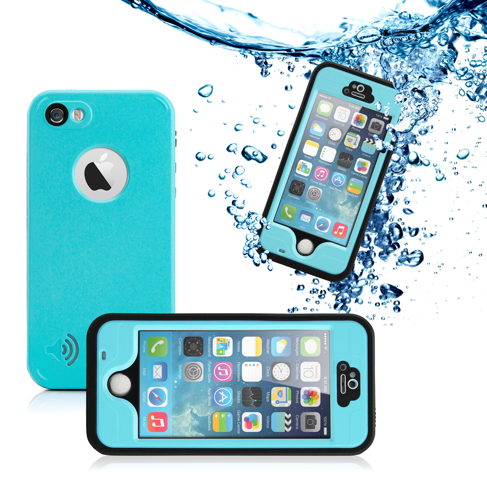 GEARONIC Durable Waterproof Shockproof Snow DirtProof Fingerprint Scanner Full Protective Case Cover for Apple iPhone SE & 5 5S - Sky Blue