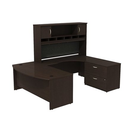 - Bush Business Furniture Series C Bow Front U Shaped Desk with Hutch and Storage