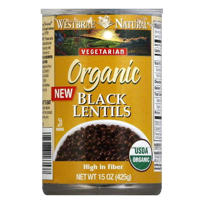 Westbrae Natural Organic Ready to Eat Black Lentils, 15 Oz (Pack of 12)