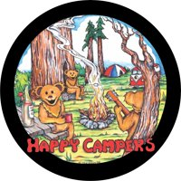 Tire Cover Central Happy Camper bears spare tire cover fits center mounted backup camera openings 255/70r18 with back up camera opening