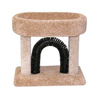 Beatrise Carpeted Kitty Cradle Cat Condo Bed with Scratching Post and Brush