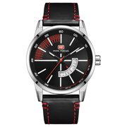 Men's Quartz Analog Wrist Watch Black&White Dial Casual Faux Leather Band For Men Bussiness Dress with Date