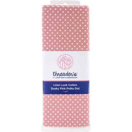 - Crafter's Companion Threaders Linen Look Fabric 1yd-Pink Polka Dot