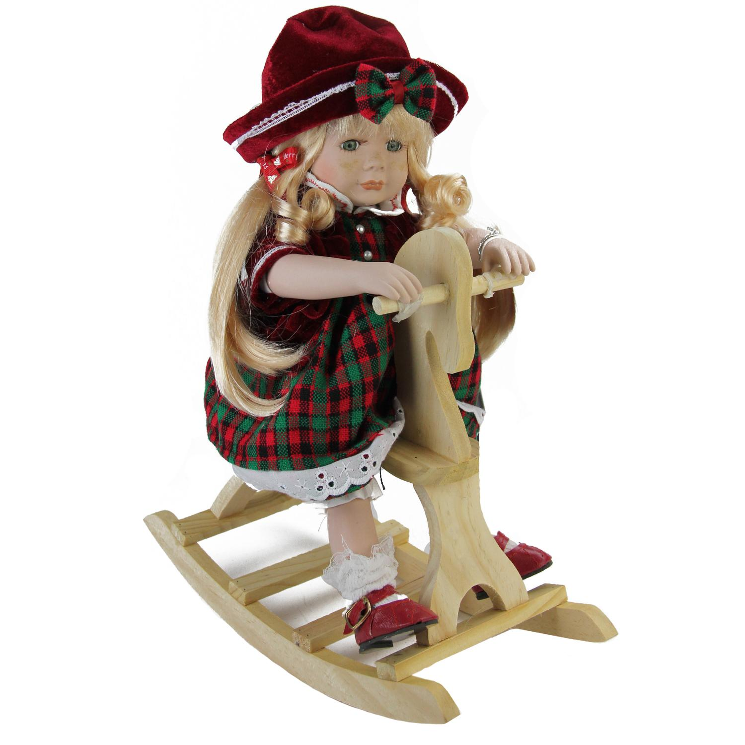 "17.5"" Porcelain ""Jamie"" on Wooden Rocking Horse Collectible Christmas Doll"