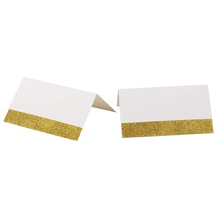 100-Pack Gold Place Cards - Gold Glitter Tented Seating Cards for Wedding, Bridal Shower, Birthday Party Supplies, Gold Shimmer Table Decoration, Folded 2 x 3.5 Inches (Bridal Table Decorations)