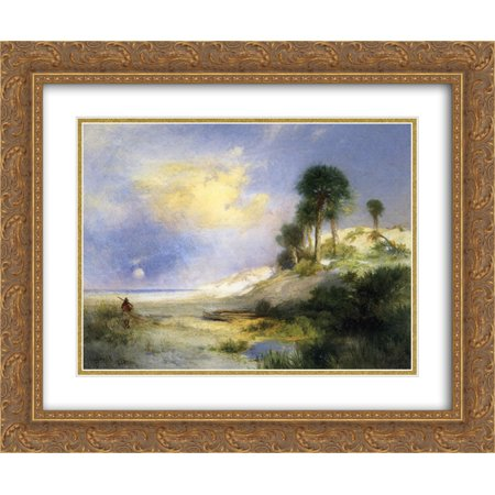 Thomas Moran 2x Matted 24x20 Gold Ornate Framed Art Print 'Fort George Island, Florida'