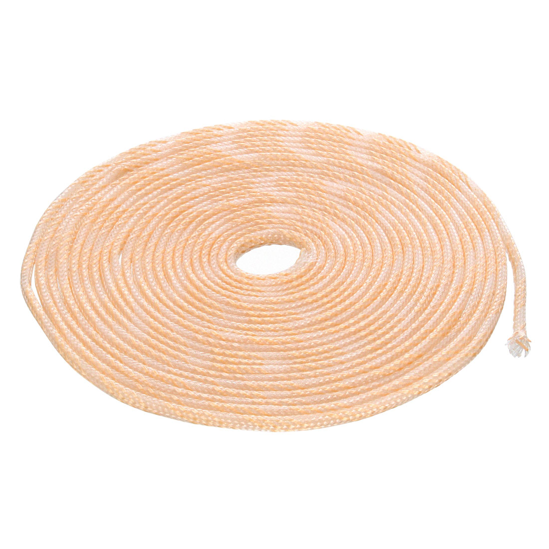 3mm Dia Tight Braided PET Sleeving Cable Wrap Sheath Transparent Orange 16Ft