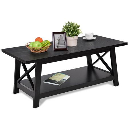 Gymax Coffee Table Rectangle Cocktail Side End ()