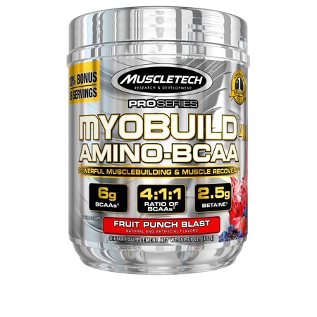 Muscletech Pro Series Myobuild 4X Amino Bcaa Powder  Fruit Punch Blast  36 Servings