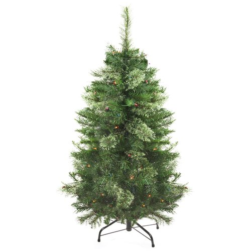 Northlight Seasonal Mixed Cashmere 4' Green Pine Artificial Christmas Tree with 100 Multi-Colored Lights
