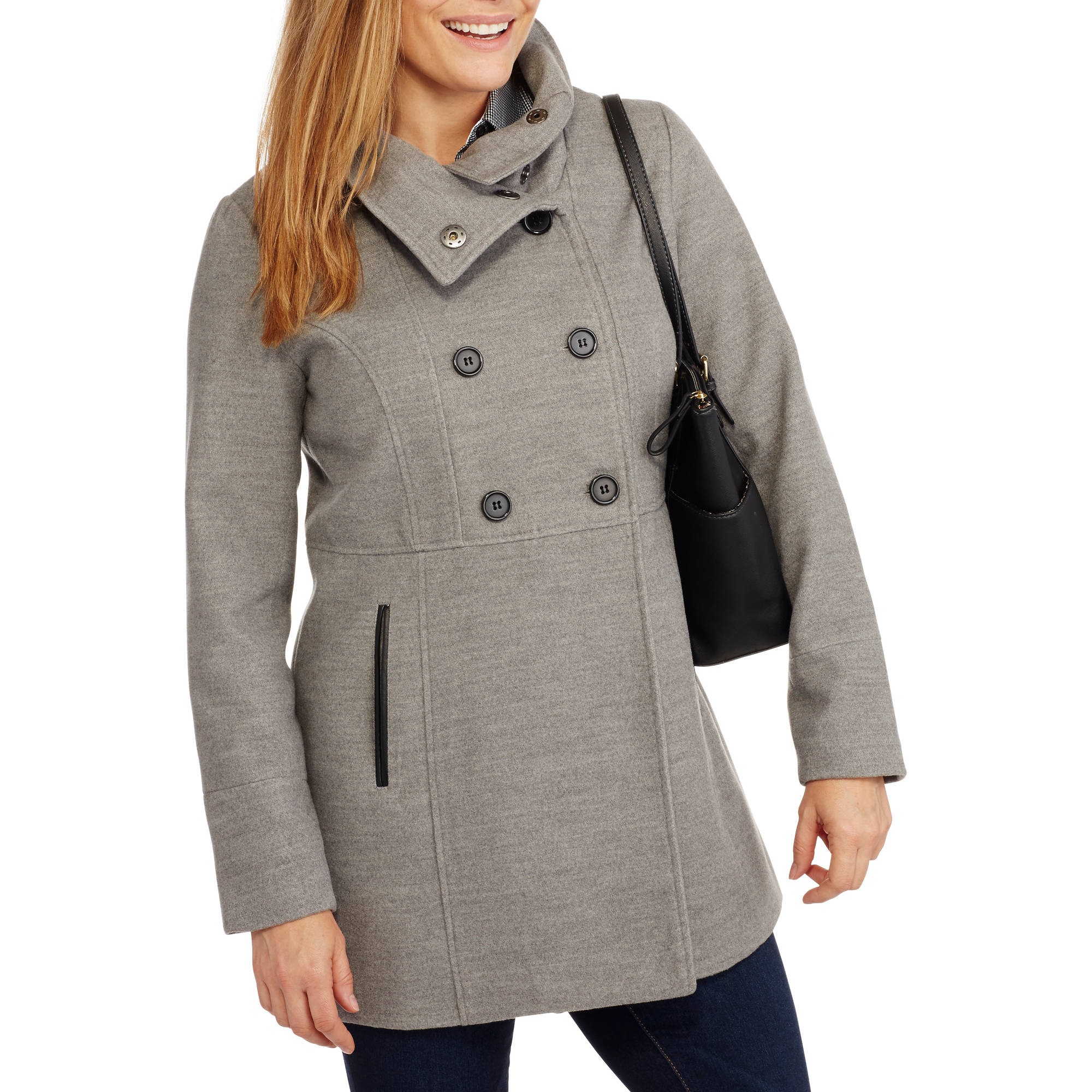 Maxwell Studio Women's Empire Faux Wool Long Peacoat