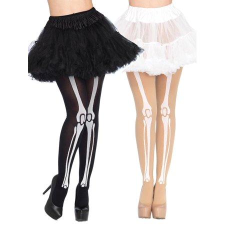 Skeleton Bone Print Opaque Pantyhose Hosiery Tights Halloween Costume Accessory- Pack of - Skeleton Tights