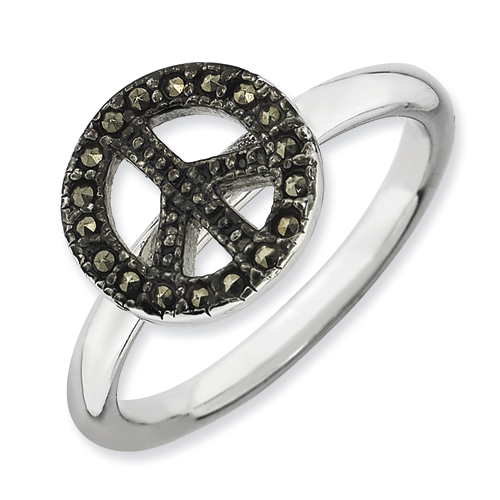 Stackable Expressions Marcasite Sterling Silver Peace Sign Ring