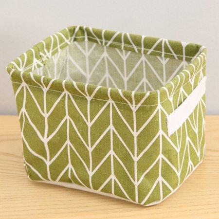 Jeobest Collapsible Storage Bins Basket - Foldable Cotton Linen Storage Basket - Foldable Mini Storage Bin - Foldable Cotton Linen Storage Basket Storage Basket Bin Home Decor Organizers Bag MZ