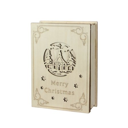 "8.25"" LED Lighted Wooden Laser Cut ""Merry Christmas"" Book Tabletop Decoration"