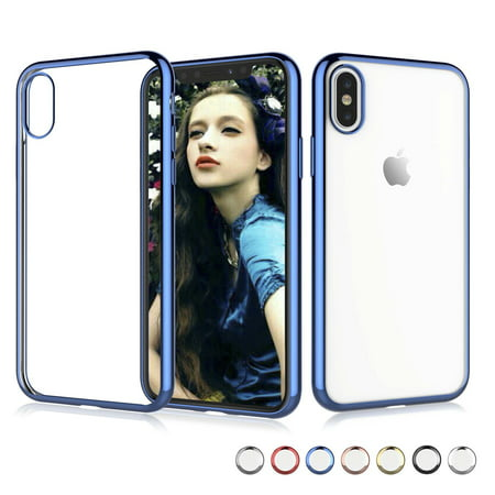 - Njjex Crystal Clear Cases Cover For Apple iPhone XS Max / iPhone XS / iPhone X, Njjex Soft TPU Thin Cover with Transparent Edge Ultra Slim Case -Blue