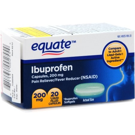 Equate Ibuprofen Pain Reliever/Fever Reducer Softgels, 200 mg, 20 Ct