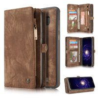 Samsung Galaxy S8 Detachable Wallet Case, Dteck Multi-functional Handmade Premium Cowhide Leather Wallet Case Zipper Wallet 2 in 1 Removable Magnetic Back Cover For Samsung Galaxy S8, Brown