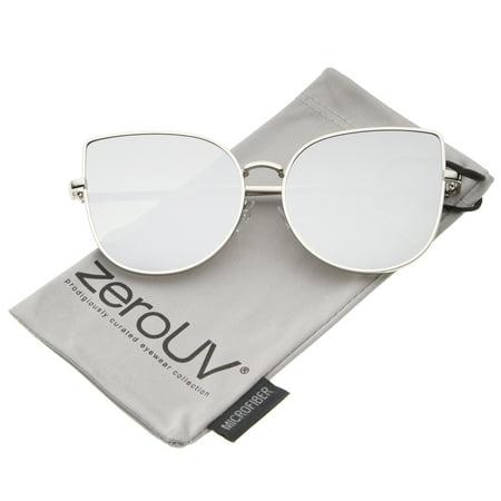 zeroUV - Oversize Slim Metal Frame Colored Mirror Flat Lens Cat Eye Sunglasses - 58mm (Sonnenbrille Zerouv)