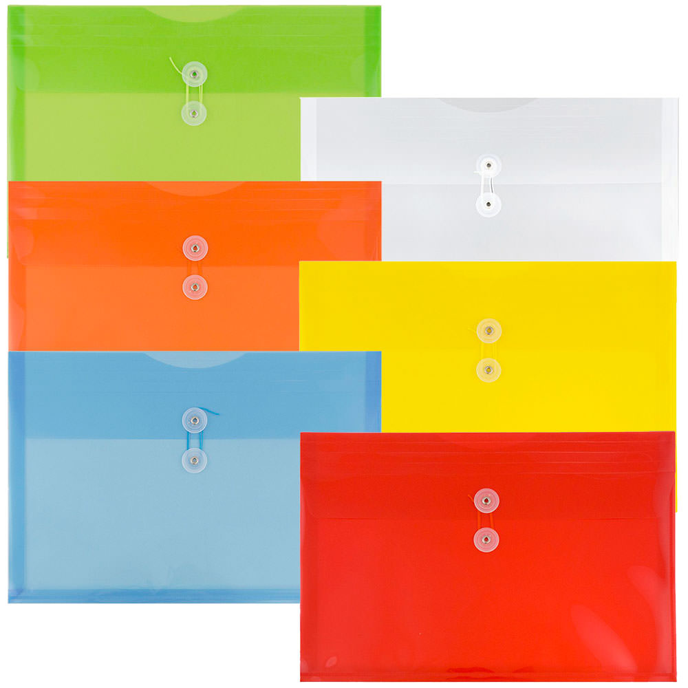 JAM Paper Plastic Envelope with Button and String Tie Closure, Legal Booklet, 10 3/4 x 14 1/2, Assorted Primary Colors, 6/pack