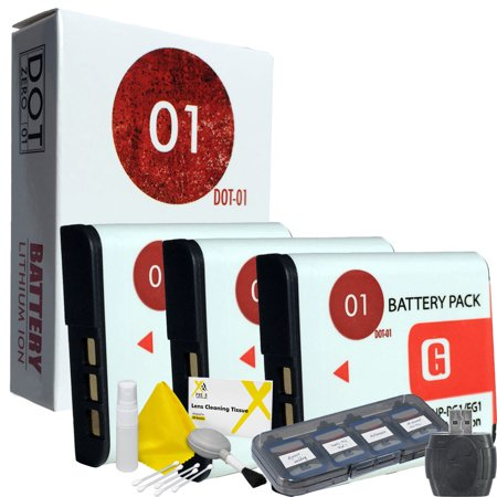 3x DOT-01 Brand 1400 mAh Replacement Sony NP-BG1 Batteries for Sony DSC-W120 Digital Camera and Sony BG1 Accessory Bundle