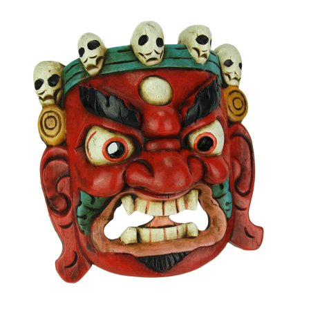 Nepalese Lord Mahakala Tibetan Buddhism Wooden Mask Wall Decor