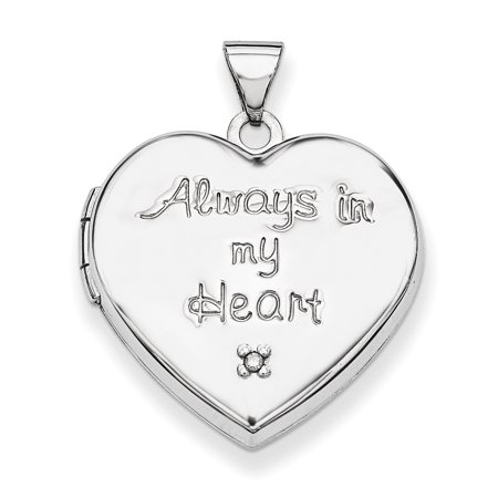 Sterling Silver Rhodium-plated Heart with Diamond Locket QLS602
