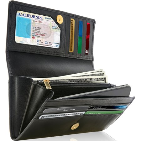 Genuine Leather Wallets For Women - Ladies Accordion With Coin Purse And ID Window RFID (Id Coin Purse)