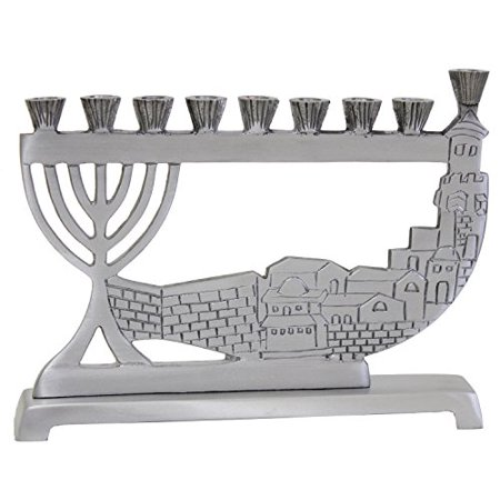 Lamp Lighters Ultimate Judaica Candle Menorah - Pewter - 6