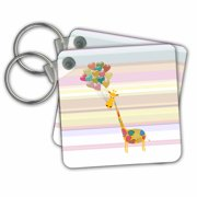 3dRose Giraffe with Heart Balloons on Stripes, Pastel Pinks, Blue, and Yellows - Key Chains, 2.25 by 2.25-inch, set of 2