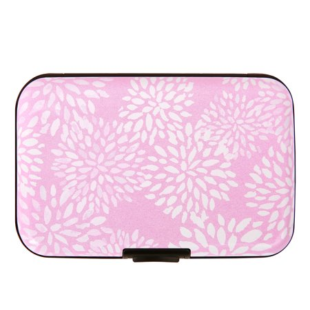 HDE RFID Wallets for Women RFID Credit Card Holder Hard Shell (Pink White Petals) Billfold Credit Card Holders