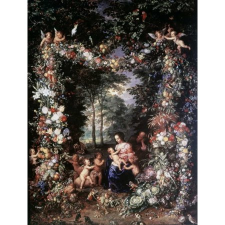 Holy Family W Wreath of Fruit and Flowers Stretched Canvas - Jan Brueghel the Elder (22 x (Holy Family Wreath)