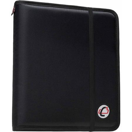 Case-It Slim 1-Inch D-Ring Binder with Expandable File Folder, Black, SLIM-630-FN-BK