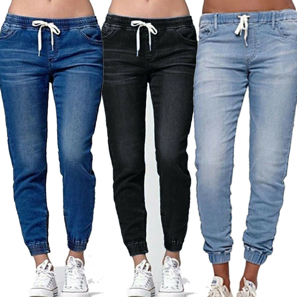 Womens Elastic Waist Pencil Stretch Denim Skinny Drawstring Jeans Pants Trousers
