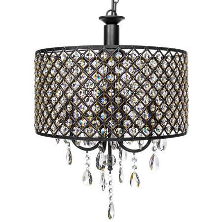 Best Choice Products 4-Light Modern Contemporary Crystal Round Pendant Chandelier w/ Classic Antique Finish - Black