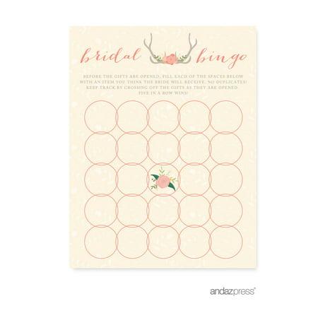 Bridal Shower Bingo  Woodland Deer Wedding Bridal Shower Game Cards, 20-Pack