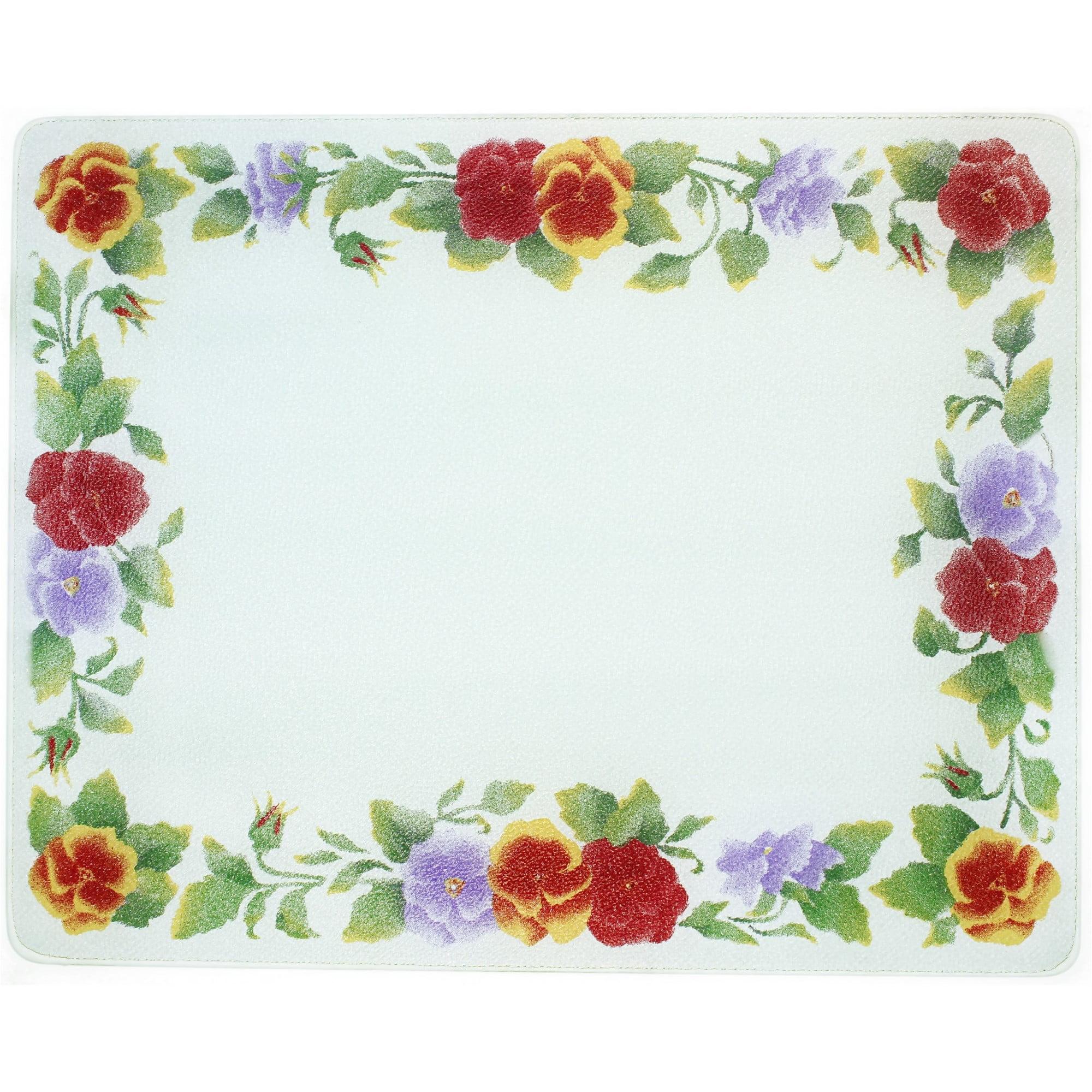 Corelle Summer Blush 15 X 12 inch Counter Saver Tempered Glass Cutting Board, 91512SMBH
