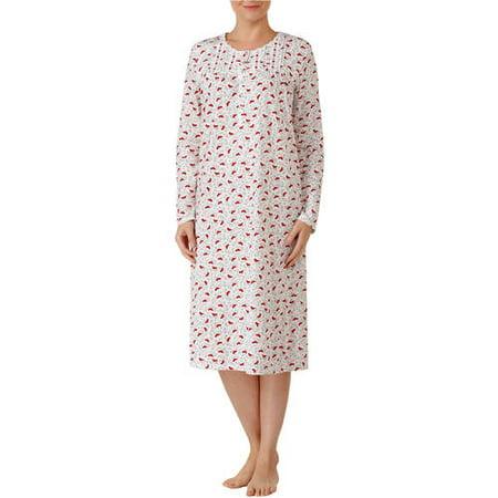 b6e70fce3c Secret Treasures - Secret Treasures Women s and Women s Plus Long Sleeve  Round Neck Fluid Knit Sleep Gowns (Size S-4X) - Walmart.com