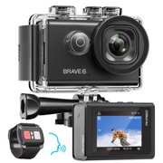 AKASO Brave 6 4K 20MP WiFi Action Camera Voice Control EIS 100 feet Underwater Waterproof Camera Remote Control 6X Zoom Underwater Camcorder with 2 Batteries and Helmet Accessories Kit - Best Reviews Guide