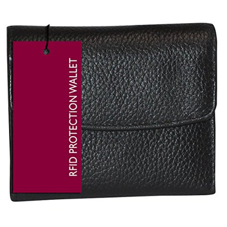 Buxton Womens Leather Mini Tri-fold Wallet (Black-RFID Protected) Buxton Mini Mini Bag