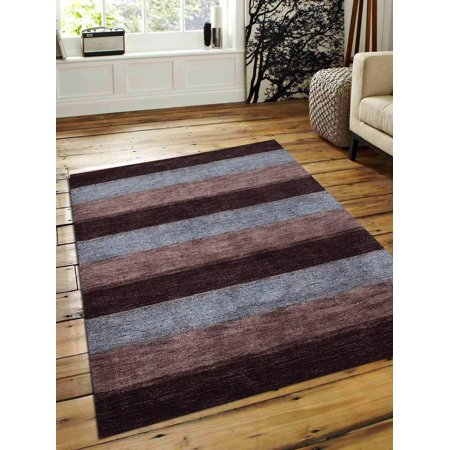 Hand Knotted Stripes (Rugsotic Carpets USLS0206L0401A11 6 x 9 ft. Hand Knotted Gabbeh Silk Striped Area Rug - Brown Beige)