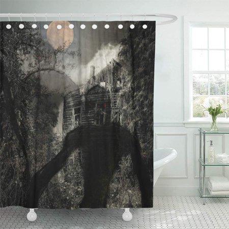 KSADK Black Advertise Full Moon Over The Wooden Creepy House Evil Creatures Above Grunge Dark Halloween Shower Curtain Bathroom Curtain 60x72 inch - Advertising Halloween