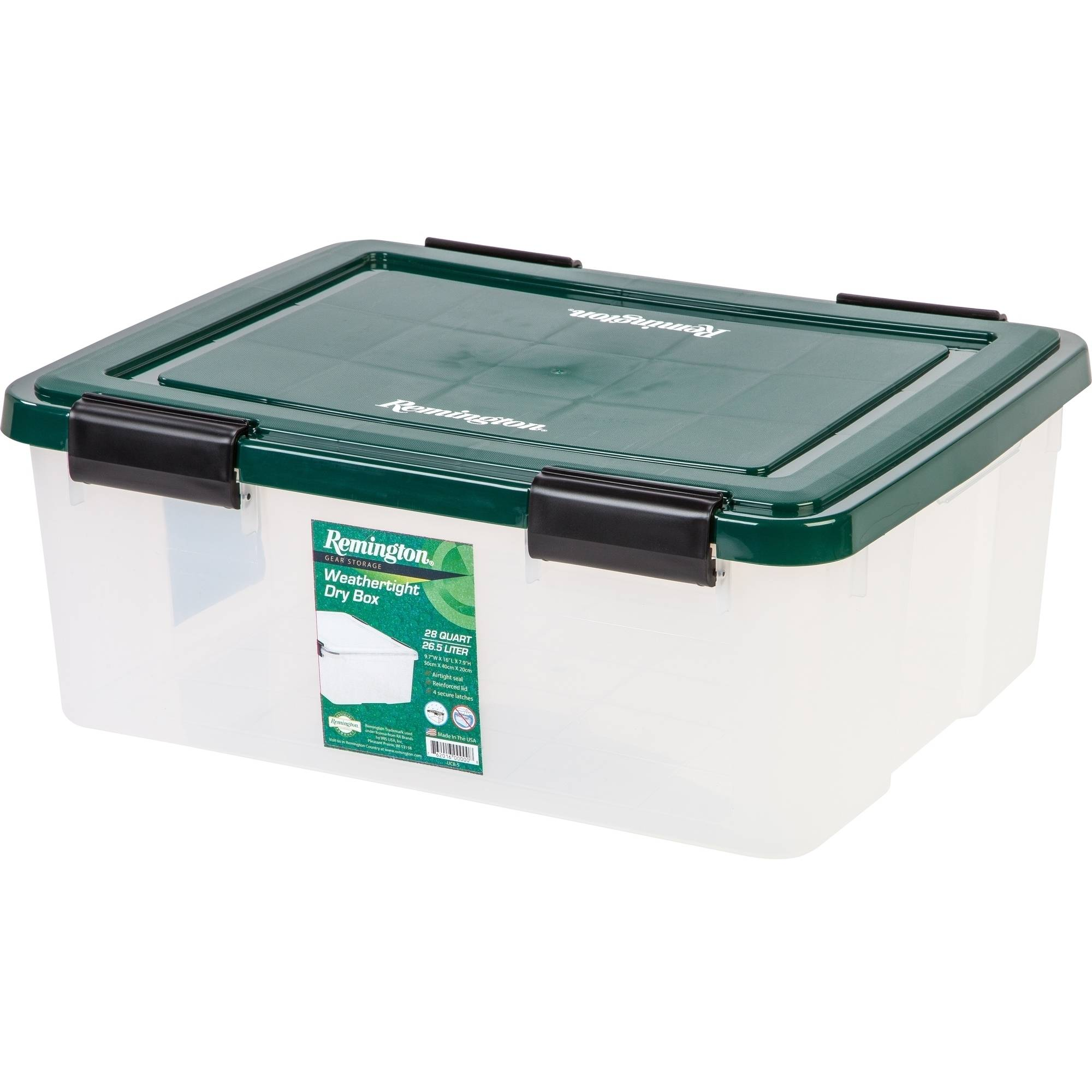 Remington 30 Qt. WEATHERTIGHT Plastic Storage Box, Green