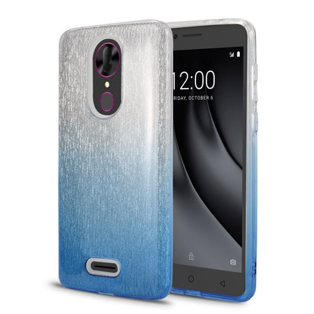 - T-Mobile REVVL Plus Case, Coolpad REVVL Plus Case, Ultra Thin Shinning Gradient Color Protective Glitter Slim Sparkle Bling Crystal Clear Triple Layer Hybrid Protective Case (HVF Blue)