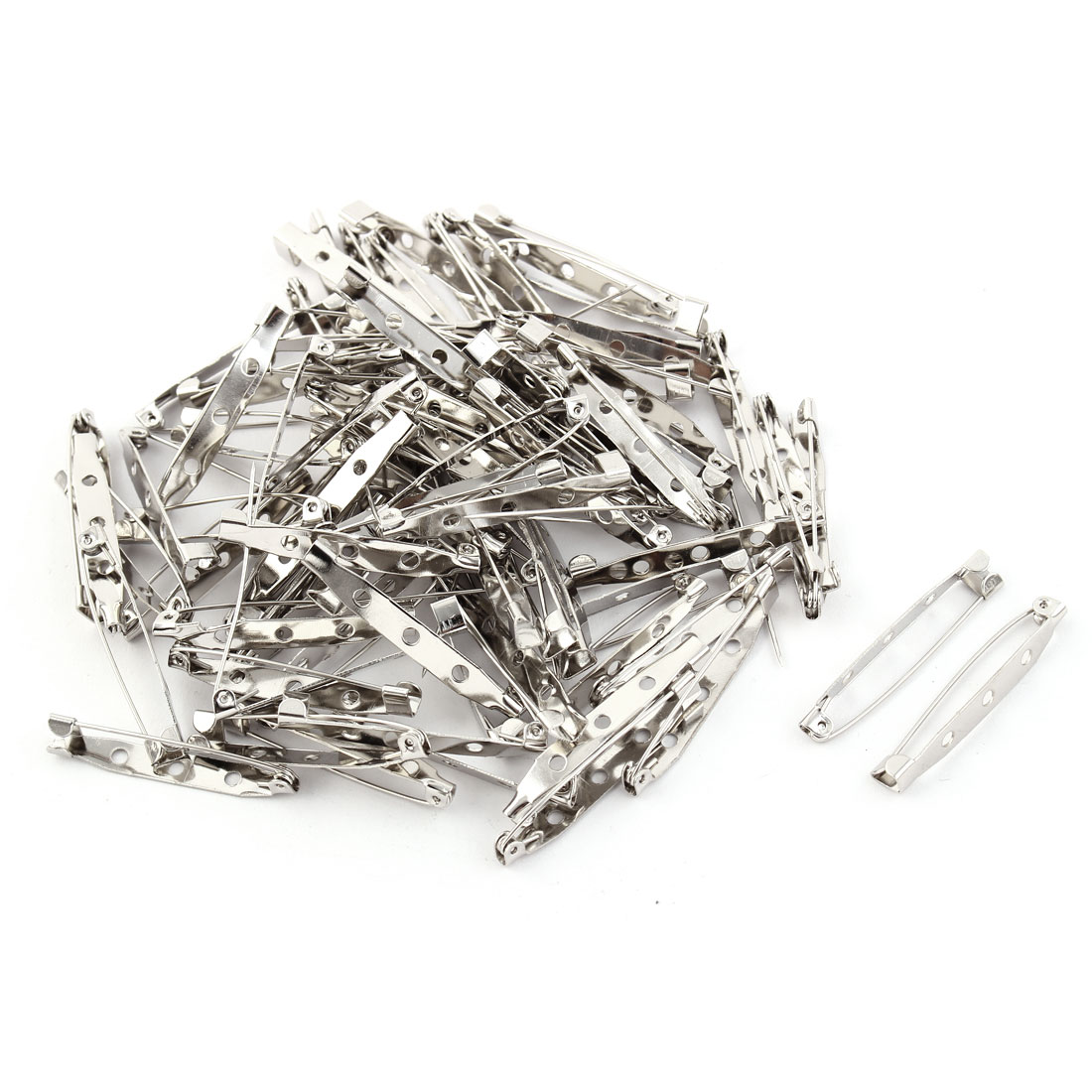 Metal Safety Pin Back Brooch Finding DIY Base Silver Tone 4cm Length 80pcs